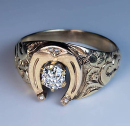 1800s horseshoe diamond gold mens ring - Horseshoe Wedding Rings
