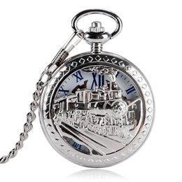 discount mechanical wind up pocket watches 2017 mechanical wind running steam train stylish pocket watch mechanical hand wind men wind up half hunter chain gift fob women r numerals