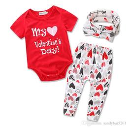 Discount baby 3pcs romper Baby Girls Romper Sets 2017 Kids Girl Letter Print Jumpsuit+Pants+Headband 3pcs Suits Newborn Infant Valentine Day Gift Children Clothing