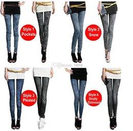 2014 nuevas mujeres adelgazan el envío libre LE9004 de los pantalones de las polainas de los pantalones de los pantalones nueve de las polainas de los pantalones vaqueros del dril de algodón de la nieve de las señoras