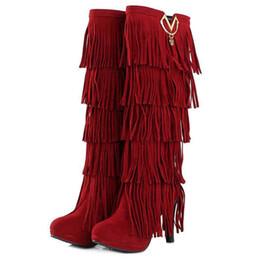 Discount Red Fringe High Heel Boots | 2017 Red Fringe High Heel ...