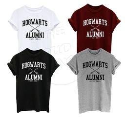 Discount wholesale shirts for summer Wholesale-2016 Summer T Shirt Hogwarts Alumni Harry Potter Inspired Magic Camisetas Tees American Apparel Harajuku T-Shirt For Men Women