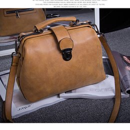 online shopping Retro fashion shoulder top handle bags female doctor bag women messenger bags bolsas feminina orange bag brand leather handbag