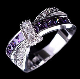 fashion white black gold filled purple crystal cross ring jewelry vintage wedding rings for women gifts yx vintage wedding ring sets white gold deals - Vintage Wedding Rings For Women