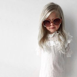 Discount cute baby long gown 2017 NEW baby girl kids infant toddler Summer Clothing Clothes Hollow long sleeve Cute dress girls Flare Sleeve party dress One-piece