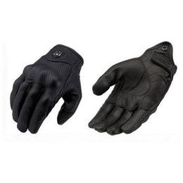 Мото Спортивные перчатки Кожа велоперчатки Перфорированные кожаные перчатки мотоцикла черный цвет размер M L XL