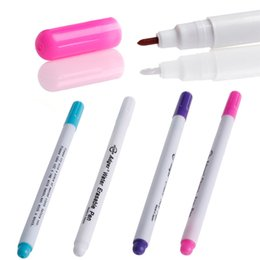 Discount pens ink vanishes Wholesale- Auto Vanishing Pen Water Erasable Fabric Marker Marking Pen Note Textile Tool