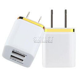 online shopping For Iphone Dual Wall Charger Full V A A Travel Adapter US EU plug AC Power Adapter port Colorful Wall Charger DHL