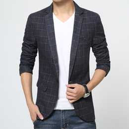 Wholesale New Preppy Style Men Pano Plaid Jacket Blue Slim Single Breasted Long Sleeved Algodão Casual Casacos Terno Freeshipping