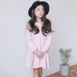 Wholesale Vestido de la muchacha de la manga larga de la nueva manera niños del resorte algodón en falda rosada de la princesa de la falda del A line del polka y refresco encantador