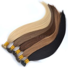 "2017 nano micro loop hair extensions Wholesale-Micro Loop Nano Ring Hair Extensions 0.5g 1g*100s 18"" 50g 20"" 100g Straight Human Remy Natural Hair Black Brown Blonde available discount nano micro loop hair extensions"