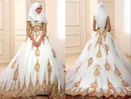 Wholesale 2017 lujosas lentejuelas de oro mangas largas capilla musulmanes musulmanes vestido de novia vestido vintage de novias vestidos de novia más tamaño