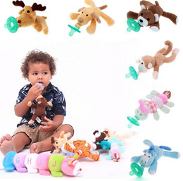 Bebé Chupete Clips chupetes Nibbler Animal Felpa Nipple Soother Juguetes Boy Clips Cadena Animal Nipple Perro Mascota Animal Mascota KKA1343