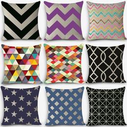 Wholesale Euro Style Cheap Cushions Geometric Print Home Decorative Cushion Throw Pillow Vintage Cotton Linen Square Pillows Myj C4
