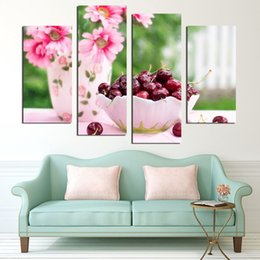2017 Cherry Kitchen Decor 4 Panels Sunflower And Cherry Painting Canvas Wall Art Picture Home Decoration