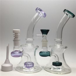 Bong Glass Dab Rig Bongs Tubes à eau cire Plateaux à pétrole Mini perc pipe Honeycomb petit filtre en rose Beady Bowling Ceramic nail colorful