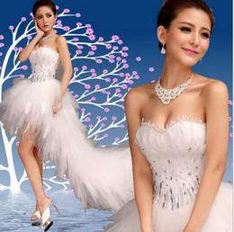 2017 nuevo frente sin tirantes del cortocircuito del vestido de boda del cordón barato de la llegada largo después de la fuente de los vestidos de boda de la pluma