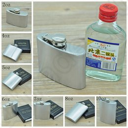 Acero Inoxidable Hip Flask 2oz 4oz 5oz 6oz 7oz 8oz 10oz Pocket Hip Frascos Whisky Stoup Vino Pot Alcohol Botella OOA1048