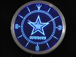 Discount led lights signs Wholesale-nc0503 Dallas Cowboys Neon Sign LED  Wall Clock Wholesale Dropshipping