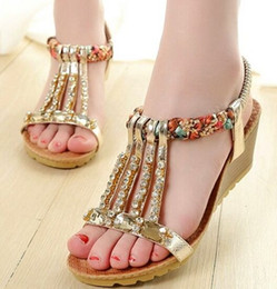 2017 fine women New Arrival Hot Sale Princess Summer Noble Nightclub Party Fine Diamond Beads National Wind Nightclub Wedge Casual Sandals EU34-40 cheap fine women