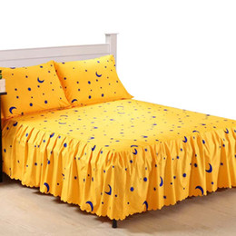 Wholesale-3 Piece Bed Sheet Set Bedding Sets Super King Yellow Bed Sheet,Mattress Cover,Bedspread,Contain 1 Bed Skirt 2 Pillowcase #AY15 cheap king mattresses from king mattresses suppliers