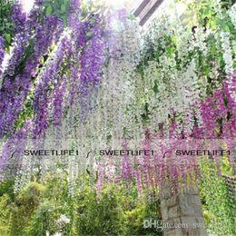 Romántica flores artificiales simulación Wisteria Vine Decoraciones de la boda largo corto de seda planta bouquet habitación Oficina jardín nupcial Accessorie