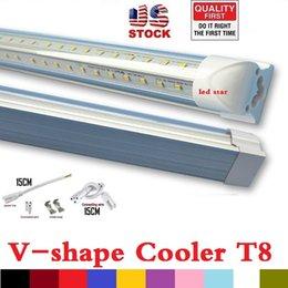 Certificación UL + en forma de V 4 pies 5 pies 6 pies 8 pies más frío de la puerta llevó los tubos T8 integrado Led tubos doble lados SMD2835 Led luces 85-265V