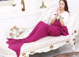 16 цветов для взрослых и детей вязания крючком хвост русалки Одеяло спальные мешки Костюм Кокон Матрас Knit диван Одеяло ручной Living Room