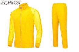 Benwon - trajes de fútbol en blanco de calidad tailandés de manga completa de fútbol de las chaquetas de los hombres de traje de invierno ropa deportiva al aire libre pantalones largos