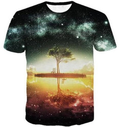 Wholesale Grossiste Femmes Hommes à manches courtes Summer Shirt Space Galaxy D imprimé T shirt Crépuscule Beautiful Style Sexy Shirts Tees