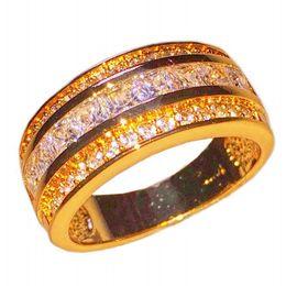 fashion 18k yellow gold filled princess cut square cubic zirconia gemstone rings wedding band jewelry for men women cheap square cut wedding rings for women - Discount Wedding Rings Women
