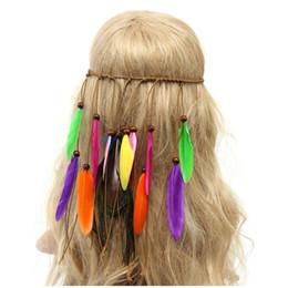 El nuevo estilo indio de las mujeres hechas a mano Headwear Corea del Sur Velvet Peacock pluma Hoop Hair Band National Mood con aro de pelo