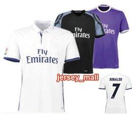 2016 17 Real Madrides home away violet Nouvelle police RONALDO JAMES BALE 3ème noir Freeshipping Air mail Free Personnaliser nom number sport clothing