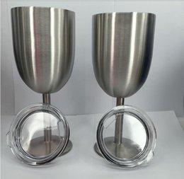 10oz Vidro de vinho de aço inoxidável parede dupla isolados cálice de metal com tampa Rambler Colster Tumbler Canecas de vinho tinto OOA1333