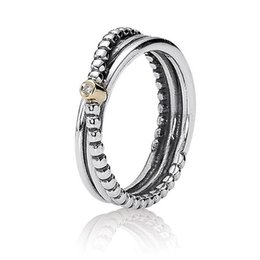 authentic 925 sterling silver ring love twin band with gold detail rings for women compatible with pandora diy jewelry hrapd654 - Wedding Rings Online