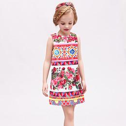 online shopping W L MONSOON Vestido Princesa Girls Dress Summer Brand Kids Dresses for Girls Clothes Rose Flower Princess Dress Costumes