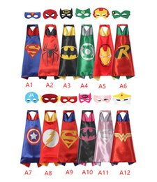 Hot Double side L70 * 70cm miúdos Superhero Capes e máscaras - Flash Spiderman Supergirl Batgirl Robin para cabritos capes com máscara por world-factory