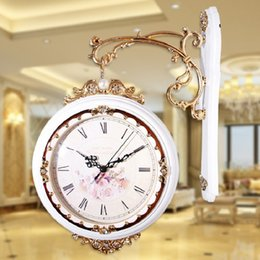 Wholesale Saat Reloj Large 2016 New Double Sided Wall Clock Retro Wall Clock Vintage Wall Clocks Home Decor Watch Watches Relogio Parede