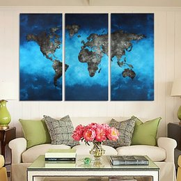 3pcs set blue map no frame wall art oil painting on canvas simple and abstract paintings picture decor living room