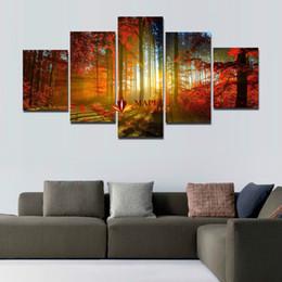 5 Панель лес Картина Холст стены искусства Изображение Домашнее украшение для гостиной Печать холст Современная живопись - Картина на холсте Дешевые