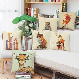 45cm 90g fresh cartoon animals giraffe linen fabric throw pillowcase 18inch fashion hotal office bedroom decorate sofa chair cushion cover - Chair Cushion Covers