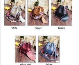 color shoulder strap bag women drawstring bucket bags vintage small bag women designer handbags high quality black sac a main - Sac A Main Color