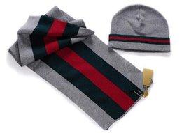 Hot Venda designer clássico de lã listrada Scarf Beanies Set homens de inverno plana malha Scarf Beanies Caps Sets Chapéus Scarves Conjuntos