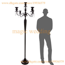 2017 Floor Candlesticks 5ft Tall 5 Arm White Gold Silver Floor Candelabra  With Hanging Crystal Bead
