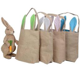 Пасхальный кролик уши сумка кролика уши хлопок льняная корзина сумка 25,5 * 30,5 * 10 см сумка для сумки сумочка Tote сумки ребенка подарок фестиваля OOA1299