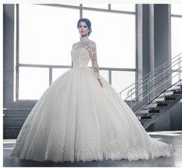 Wholesale Robe de mariage Princesa Vestido de Cuna Vestido de Manga Larga Escarpada Vestido De Noiva Vestidos de Novia Musulmana Muestra Real