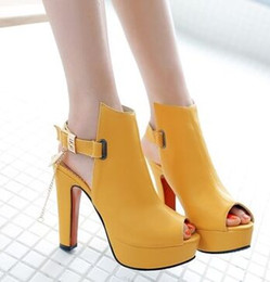 Yellow Ankle Strap Heels Online | Yellow Ankle Strap Sandal Heels ...