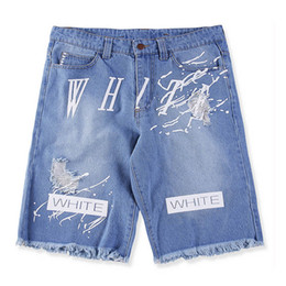 Wholesale European Off White Vintage Ripped Hole Jeans short pirate Fashion Tassel Denim Washed Summer Jean Pantalons courts pour hommes