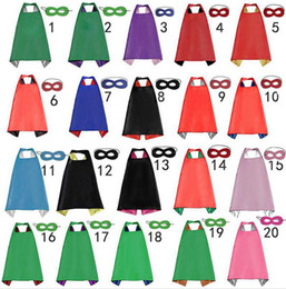 Discount halloween costumes Plain colors 70*70cm 2 layers satincostume Halloween Cosplay Superhero Capes kids capes with mask 20 styles good quality B4