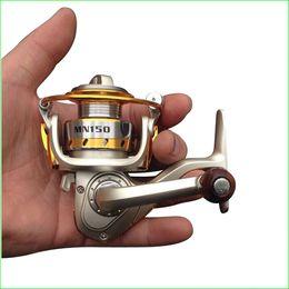 Wholesale Pêche Moule de pêche MN150 Mini en palme Roulements Spinning Reel Ratio Nylon Matériau Mini Ice Fishing Rock Lure
